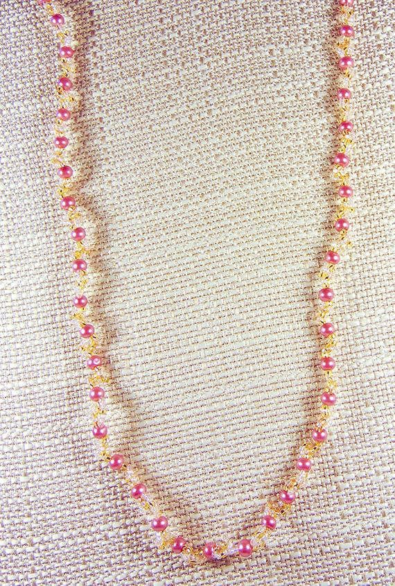 PINK PEARL NECKLACE pink pearl jewelry pink pearls clear