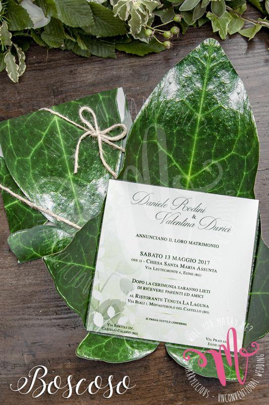 Partecipazione Leaf in stile Boscoso. Creato da Marrylicious - Leaf wedding invitation in Boscoso style. Created by Marrylicious