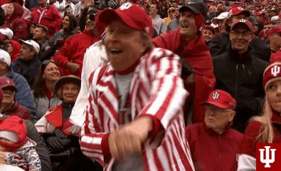 buy online 7236c 34bbf dancing fans indiana iu hoosiers indiana hoosiers goiu iufb indiana  football candy stripes  gif from  giphy   dancing gifs   Indiana football, Iu  hoosiers, ...