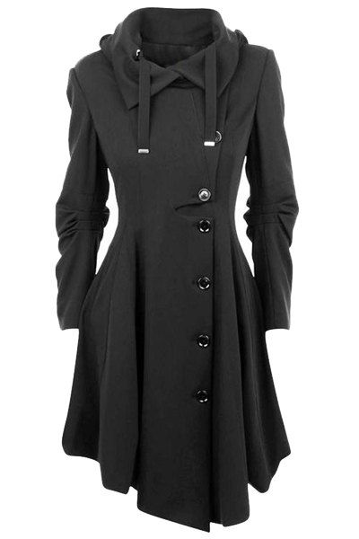 Stylish Turn-Down Collar Long Sleeve Asymmetrical Button Design Coat For Women