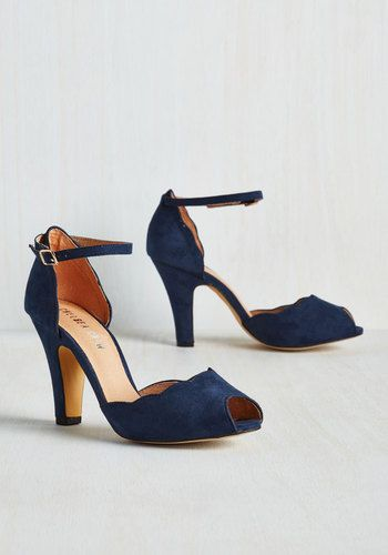 Scallop Your Alley Heel in Navy | Mod Retro Vintage Heels | ModCloth.com
