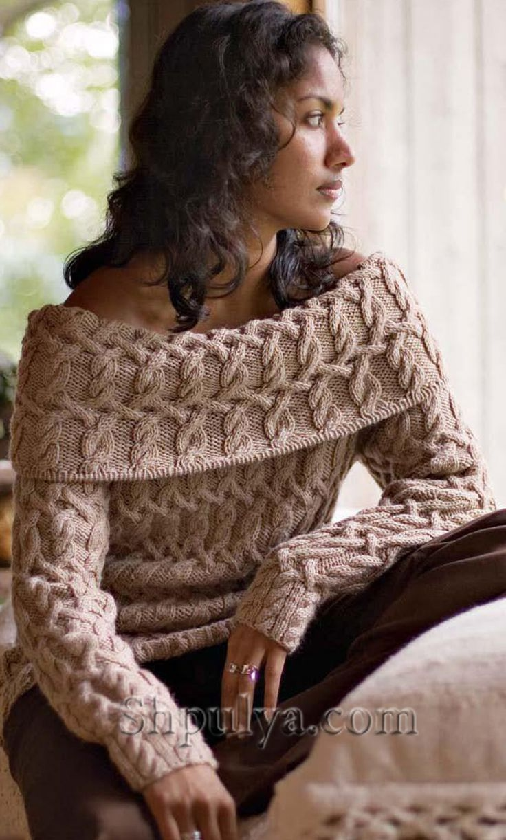 Пуловер с плетеным узором