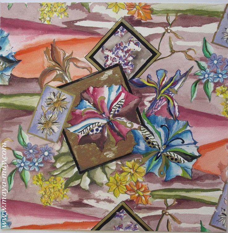 Textile motif design by Angela Kurnia. Color guache.  #prints #textiledesign #art #painting #designer #flower #hibiscus #decorative #placementprint