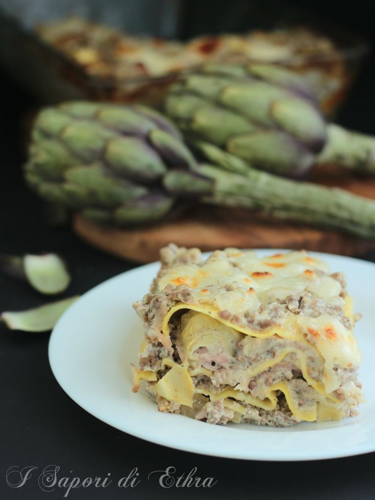 Lasagne carciofi cotto e mozzarella