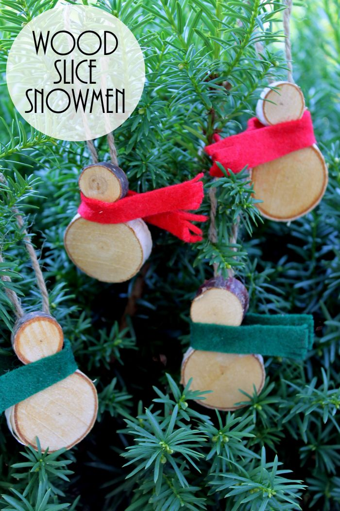 Wood Slice Snowmen Ornaments Wood OrnamentsSnowman OrnamentsDiy