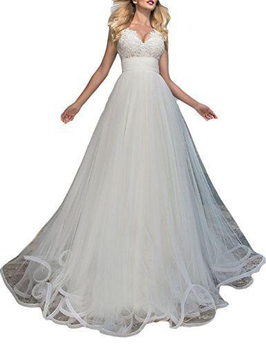 YSMei Women s Empire Waist Beach Wedding Dress Long Tulle Ball Bridal Gowns  White 2 3b33a798da