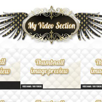 Custom MyFreeCams profile design Royal White - Videos section
