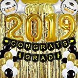 Graduation Party Supplies 2019 – Pack of 68 Gold and Black Graduation Party Decorations – Graduation Banner Balloon Foil Fringe Curtain as Backdrop #T