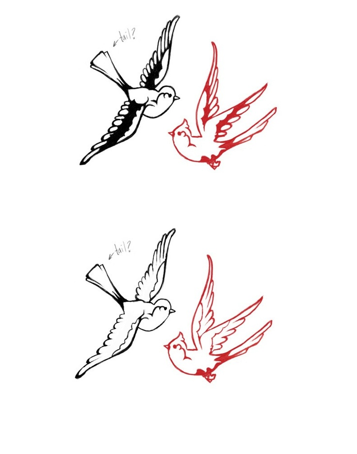 Double swallow drawing | Red bird tattoos, Bird outline ...