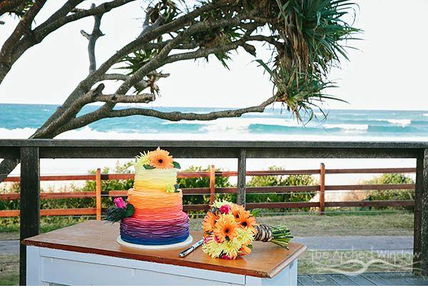 rainbow wedding cake byron bay