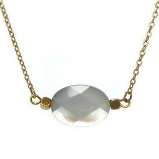 verstelbaar fijn kort gouden verguld kettinkje parelmoer facet geslepen ovaal half edelsteen sieraden trends musthave