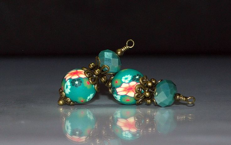 2 Peach, Green, White Flowers on Green Background Vintage Style Bead Dangles or Earrings-Handmade Bead Dangles 10mm Polymer Clay Beads by goldcountrydangles on Etsy
