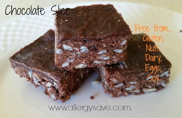 Chocolate Slice Allergy friendly chocolate slice - free from Gluten, Nuts, Dairy, Eggs and Soy http://www.allergysave.com/chocolate-slice/