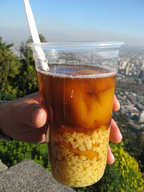 Mote con Huesillo - cooked dried peaches and stewed corn served as a drink.