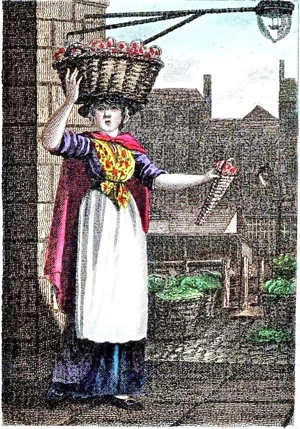 William Marshall Craig's Itinerant Traders of London in their Ordinary Costume...1804. Strawberries. It is one of 31 similar works which William Marshall Craig (c.1750-c.1828) produced to illustrate Modern London, a guide book published by Richard Phillips in 1804.