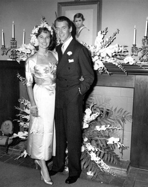 [MARRIED] James Stewart, marrying former model Gloria Hatrick McLean (1918 - 1994) on August 9, 1949