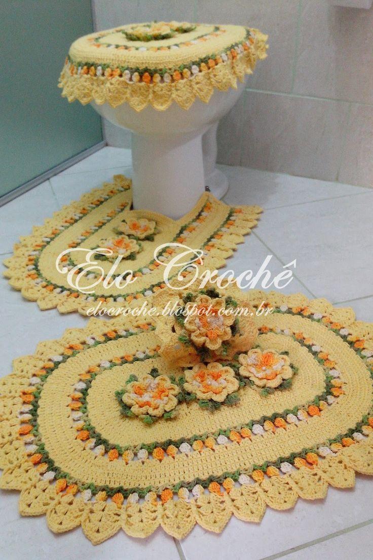 +1000 ideias sobre Jogo De Cozinha Croche no Pinterest  Tapete De Barbante,  -> Jogo De Banheiro Simples Em Croche