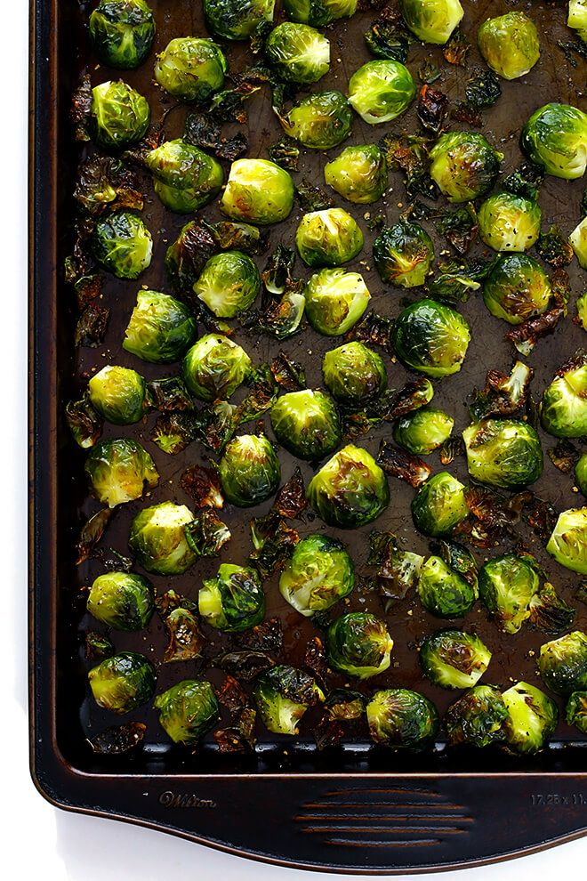 All you need to make my favorite classic Roasted Brussels Sprouts recipe is olive oil, salt, pepper, and a big batch of sprouts. Always so delicious!!   gimmesomeoven.com