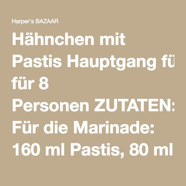 Hähnchen mit Pastis Hauptgang für 8 Personen ZUTATEN: Für die Marinade: 160 ml Pastis, 80 ml Olivenöl, Pfeffer, Salz. Dazu: 1,5 kg Huhn, in 8 Teile zerlegt, 3 EL Öl, 2 Zwiebeln, in Ringe geschnitten, 4 gewürfelte Tomaten, 4 gehackte Knoblauchzehen, 2 TL Fenchelsamen, 1 Handvoll schwarze Oliven, Basilikum, Salz, Pfeffer ZUBEREITUNG: Pastis und Öl mischen, mit Pfeffer und Salz abschmecken. Hühnchenteile damit übergießen und 2 Stunden in den Kühlschrank stellen. Öl in einen Schmortopf…