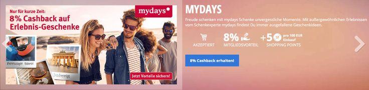 Gutschein für maydays.de - Erlebnisse und Abenteuer 8% Cashback auf alle Erlebnis-Geschenke plus 5 Punkte Shopping pro 100 Euro Einkauf, die einem durchschnittlichen Wert von ca. 50,- Euro entsprechen. Jetzt den vollständigen Deal ansehen auf http://my-lyoness.de