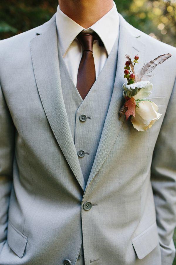 Stunning boutonniere - Woodsy Malibu Wedding by Marianne Wilson Photography - via ruffled