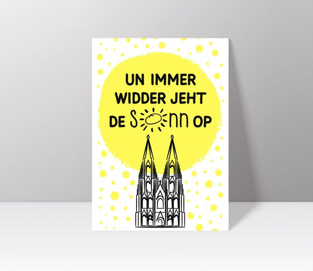 Postkarte Koln Un Immer Widder Jeht De Sonn Op Etsy Prints Book Cover Illustration