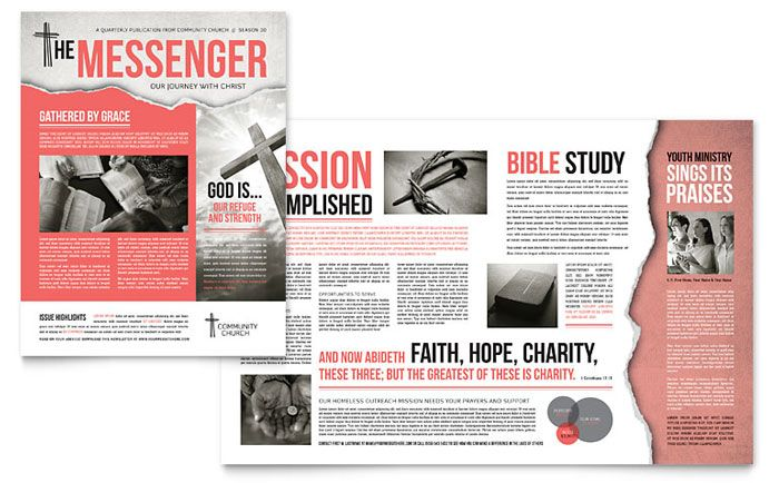 Bible Church Newsletter Design Template by StockLayouts  I like the graphics and general visual appeal. Not sure about the format inside.