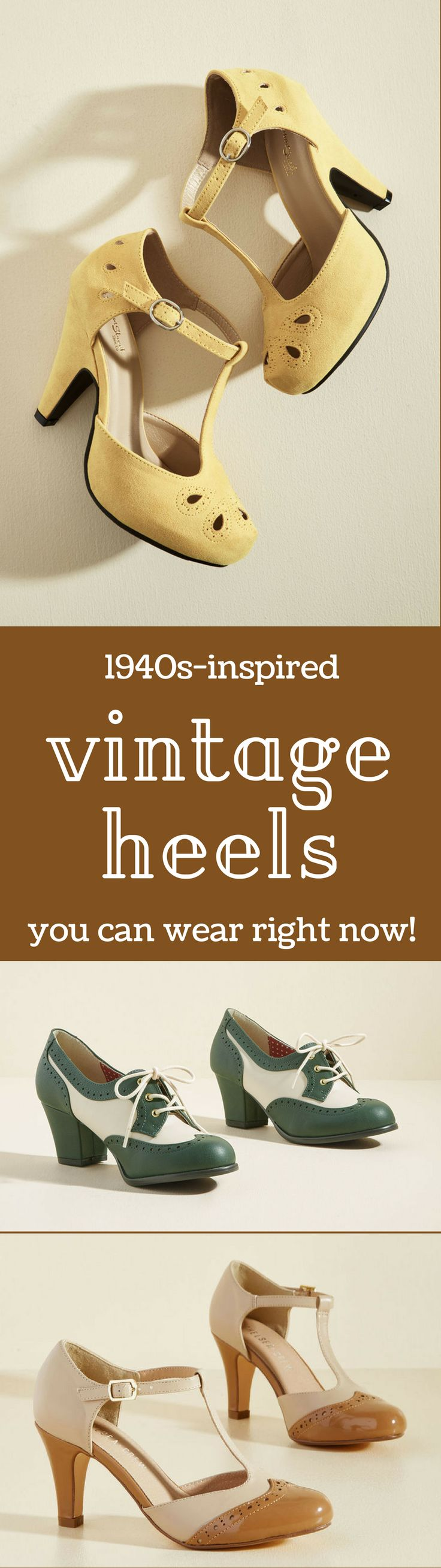 Classic 1940s inspired vintage heels you can wear right now! Oxford styles with pinhole details, cute cutout t-strap heels in bright colors, and of course with wing tips. Perfect dancing shoes for a night of swing dancing or to complete a costume. #19