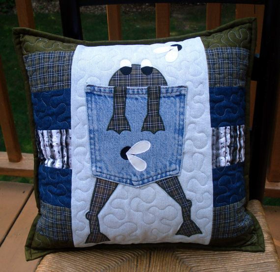 Olive Green Plaid Hungry Frog Quilted Denim by BackPocketDesign