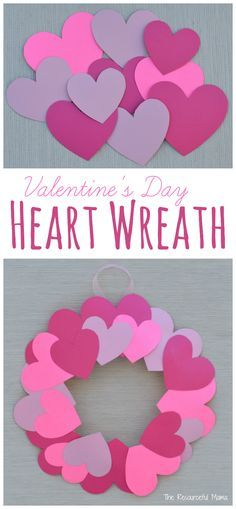 paper plate valentines day heart wreath craft valentines day kid craftsvalentines ideas