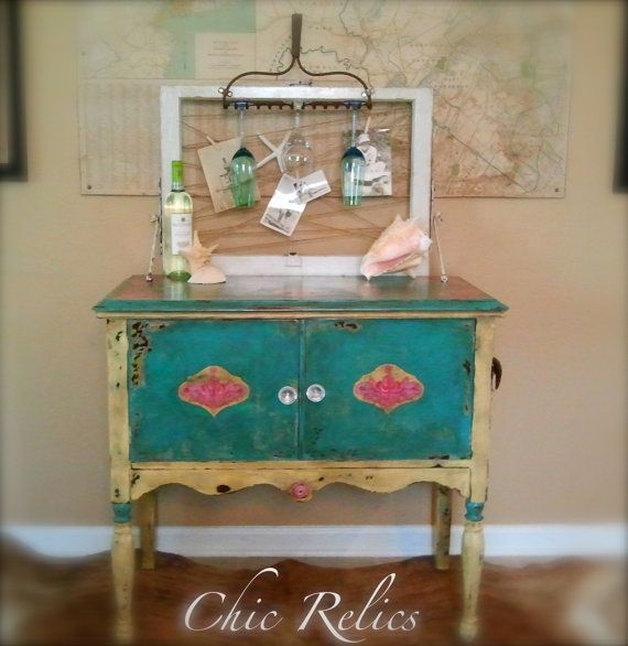Upcycled Key West Style Hand Painted Wine Buffet