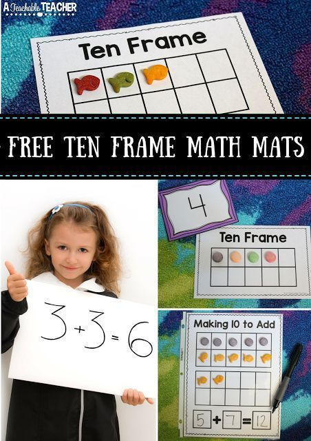 Free printable Ten Frame to practice number recognition activities, add and subtract using our set of frame math mats. Perfect for preschool, kindergarten and first grade. | addition math games | subtraction worksheets | primary math activities | printable math games | #math | #kindergartenmath #tenframe
