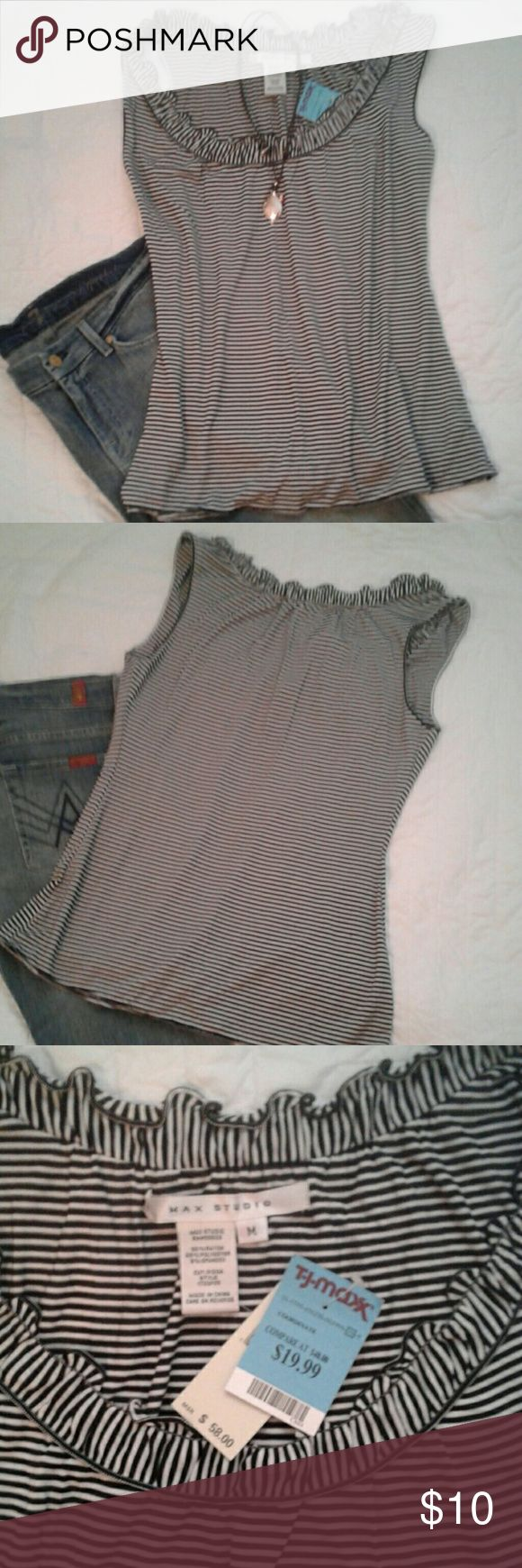 """Max Studio black pinstripe sleeveless tee M Fun everyday top,  rayon/poly/spandex blend allows for lots of stretch.   22"""" long.   MSRP $58,  TJ Max $20 Max Studio Tops"""