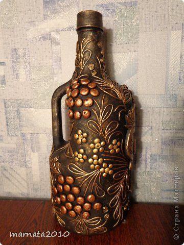 Декор предметов Аппликация из скрученных жгутиков Мой пейп-арт Бутылки стеклянные Салфетки фото 11