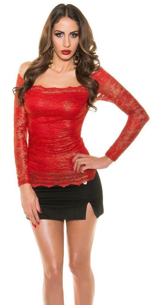 Camisa roja de encaje moda mujer