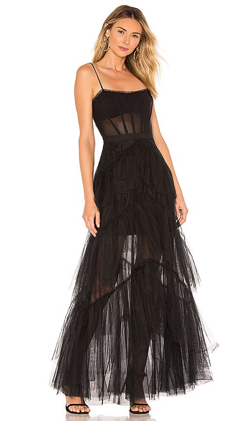 a2b7aaa702 BCBGMAXAZRIA Corset Tulle Gown in Black