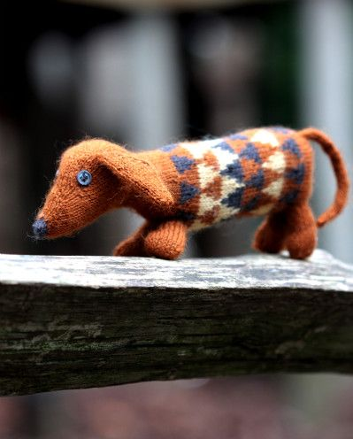 Dashing Dachshund Kit Handknit Stuffed Toy Dog Kit ~ Adored by all ages ~ 3 mini skeins of yarn and pattern in presentation tube ~ Colourwork inspired by Scandinavian printed textiles with Victorian colours | baa ram ewe
