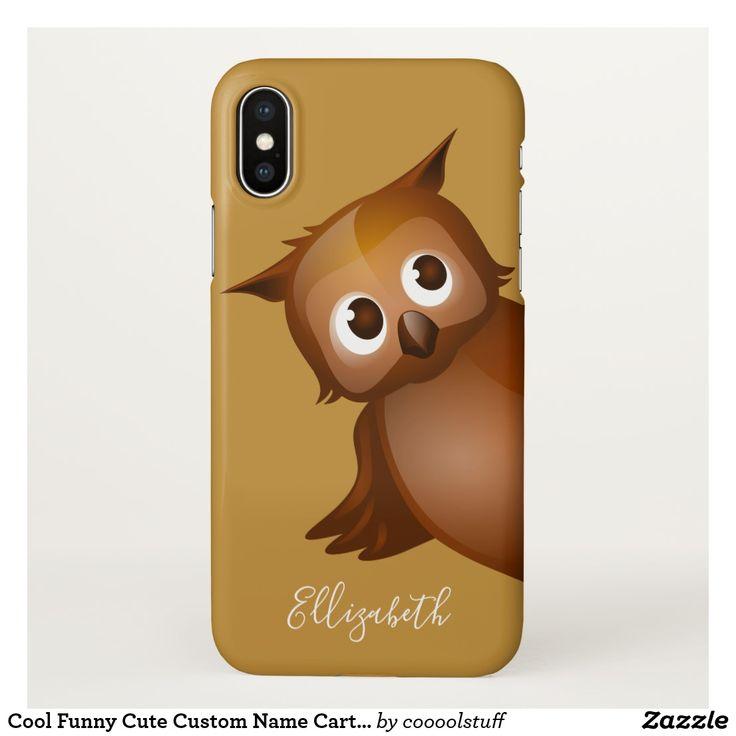 Cool Funny Cute Custom Name Cartoon Owl Monogram iPhone X Case