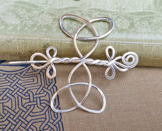 Celtic Trinity Knot Knitting Pattern : Celtic Trinity Knot Cross Sterling Silver Shawl Pin, Scarf Pin, Sweater Clip,...