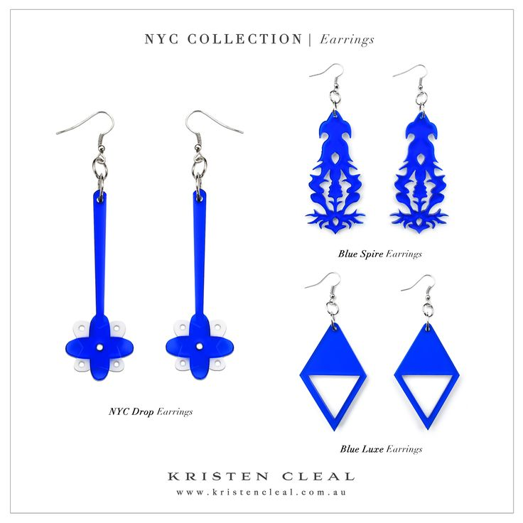 Blue NYC Earrings by Kristen Cleal Designs  NYC Collection | www.kristencleal.com.au