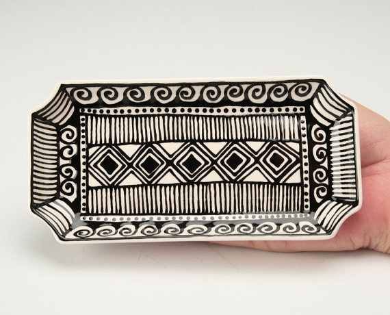 """Rectangular Dish, Trinket Tray, Soap Holder, Cocktail Plate Hand Painted Black and White 7"""" x 3-1/2"""" $17"""