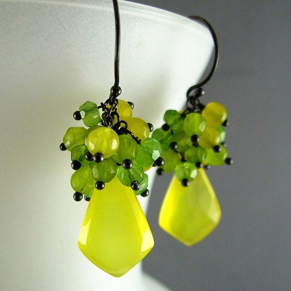 Yellow Gemstone Earrings  Yellow and Green by SurfAndSand on Etsy, $59.00
