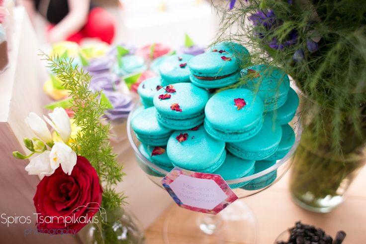 Golden Apple Weddings - Spring Baptism In #Rhodes #candytable #tealcolor #macarons