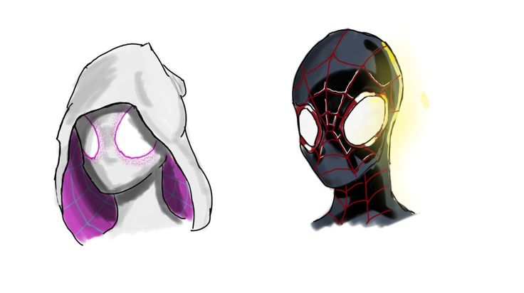 Spider Gwen Miles Morales Portraits by Comic-Book-Guy-2099