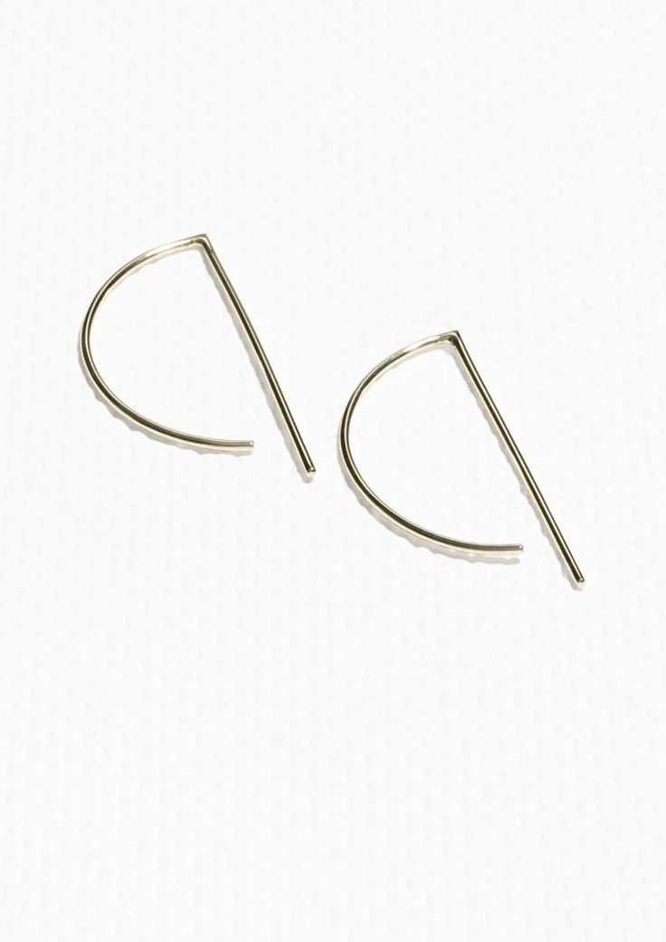 & Other Stories Minimalistic Graphic Hoop Earrings in Gold