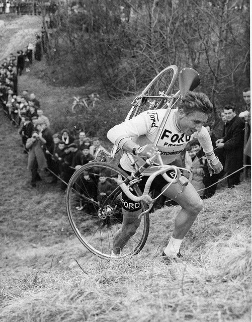 Jacques Anquetil in a cyclocross race, 1965 or 1966. Back of the photo is stamped AGIP Robert Cohen.