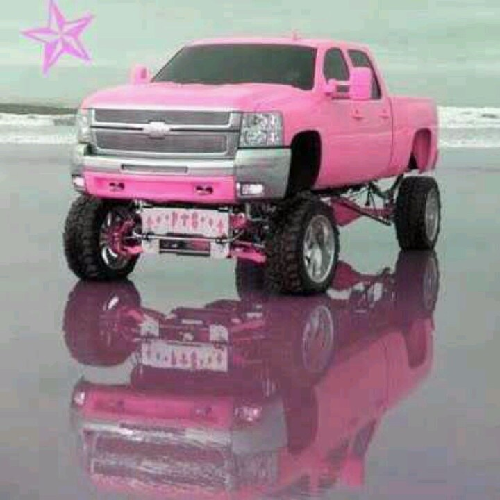 Every girl needs a pink truck....:) #pink #chevy ...