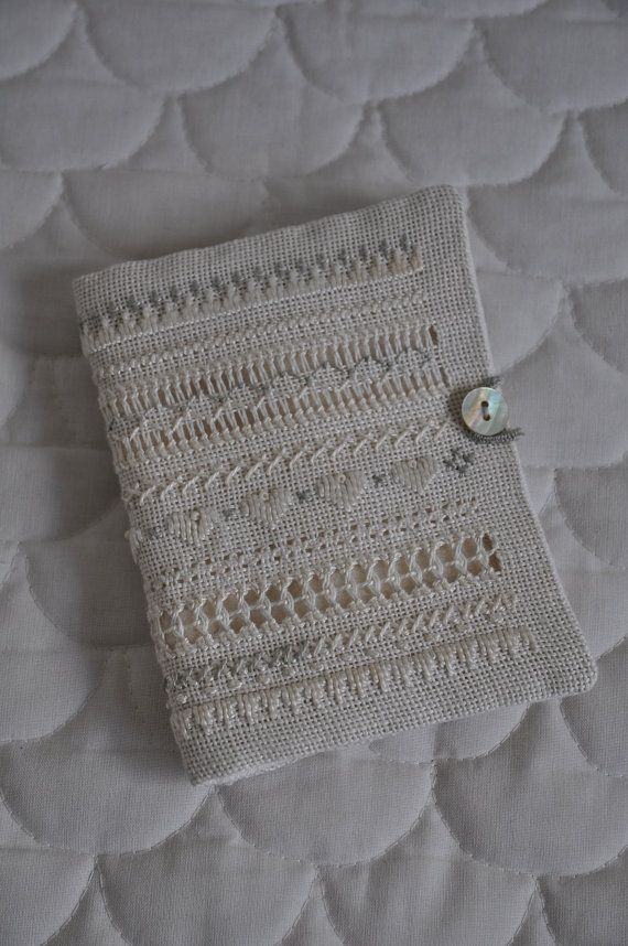 Handstitched drawn thread work vintage style needlebook ~ by myteacupoverflows, £7.80