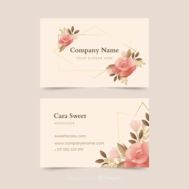 Download Floral Business Card With Golden Lines Template For Free Floral Business Cards Cards Business Card Design