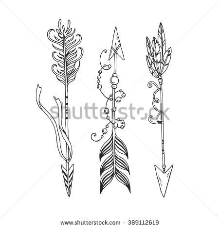 Vector contour set with decorative arrows in bohemian, gypsy, tribal style. Ethnic decorative arrows set in tattoo style. Hand drawn vector illustration.